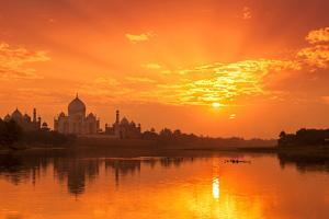 Taj Mahal and Yamuna River at Sunset by Adrian Pope