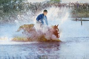 Adriano Facchini and His Horse Participating in the Pentathlon at the 1956 Melbourne Olympics