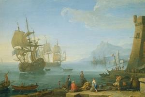 Mediterranean Harbour Scene by Adrien Manglard