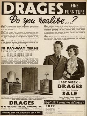 Advert for Drages Bedroom Furniture 1937