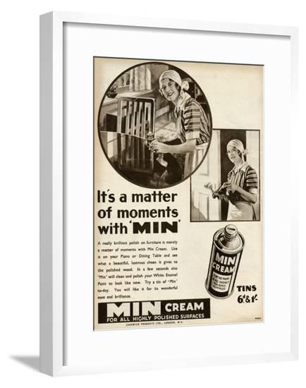 Advert for Min Cream, Polish for Furniture 1936--Framed Giclee Print