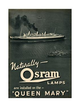 Advert for Osram Lamps, Installed on Queen Mary Ocean Liner