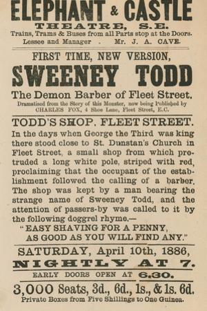 Advert for Sweeney Todd the Demon Barber of Fleet Street