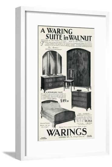 Advert for Waring Furniture Suite in Walnut--Framed Giclee Print