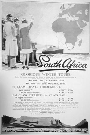 Advert for Winter Tours of South Africa, 1928