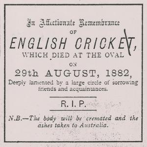 Advert from the Sporting Times in August 1882 Which Introduced the Concept of the Ashes
