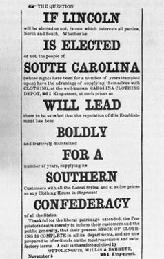 Advertisement against Election of Abraham Lincoln