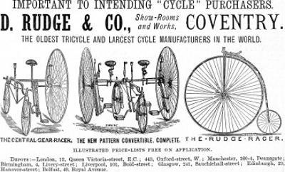 Advertisement for Cycles and Tricycles by D. Rudge and Co
