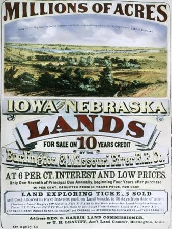 Advertisement for Iowa and Nebraska Lands