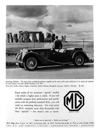 Advertisement for Mg Cars. Photograph of a Man and His Mg Car Looking at Stonehenge