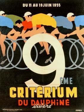 Advertisement for the 9th 'Criterium Du Dauphine Libere' Cycling Race of 1955