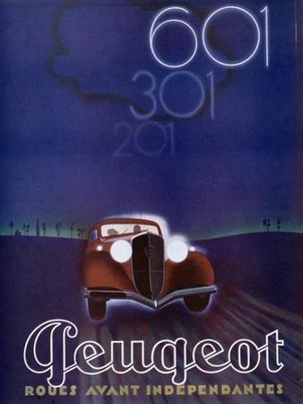 Advertisement for the Peugeot 601, from 'Femina' Magazine, August 1934