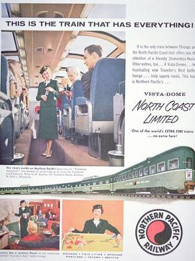 Advertisement for the 'Vista-Dome North Coast Limited' Train of the Northern Pacific Railway, 1956