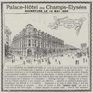 Advertisement, Palace-Hotel Des Champs-Elysees