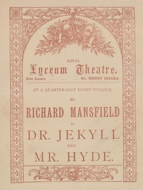 Advertising Card for the Lyceum Theatre, Dr Jekyll and Mr Hyde Starring Richard Mansfield