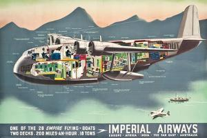 Advertising Poster for the 'Flying Boats' of Imperial Airways, 1937 (Offset Colour Lithograph)