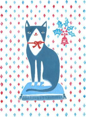 Blue Holiday Cat by Advocate Art