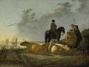 Peasants and Cattle by the River Merwede, C.1655-60 by Aelbert Cuyp