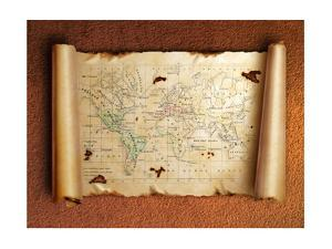 Ancient Scroll Map With Curled Edges by aelita