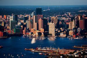 Aerial morning View of Boston Skyline and Financial District and Wharf area, Boston, MA