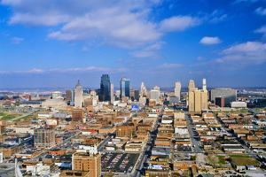 Aerial of Kansas City skyline, MO