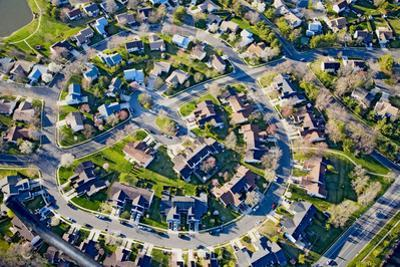 Aerial pattern of residential homes in circle outside of Philadelphia Pennsylvania, New Jersey