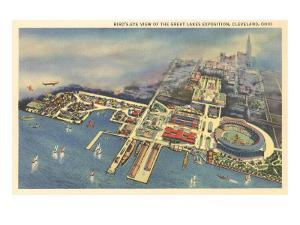 Aerial View, Great Lakes Exposition, Cleveland, Ohio