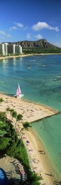 Aerial View of a Beach, Diamond Head, Waikiki Beach, Oahu, Honolulu, Hawaii, USA