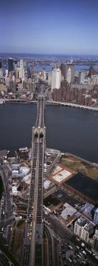Aerial View of a Bridge, Brooklyn Bridge, Manhattan, New York City, New York State, USA