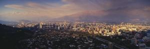 Aerial View of a City at Dusk, Santiago, Chile