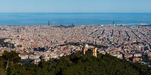 Aerial View of a City, Barcelona, Catalonia, Spain