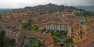 Aerial view of a city, Citta alta, Bergamo, Lombardy, Italy