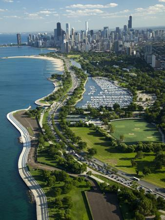Aerial View of a City, Lake Shore Drive, Lake Michigan, Chicago, Cook County, Illinois, USA