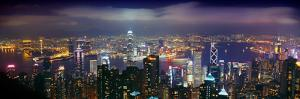 Aerial View of a City Lit Up at Night, Hong Kong, China