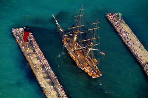 Aerial view of a tall ship during festival, South Haven, Michigan, USA