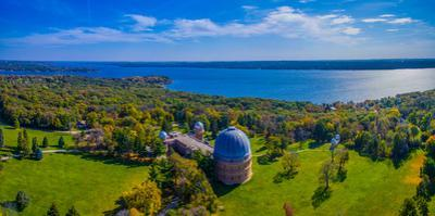 Aerial view of an observatory, Yerkes Observatory, Williams Bay, Wisconsin, USA