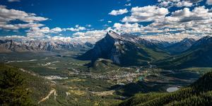 Aerial view of Banff town and Mount Rundle, Banff National Park, Alberta, Canada