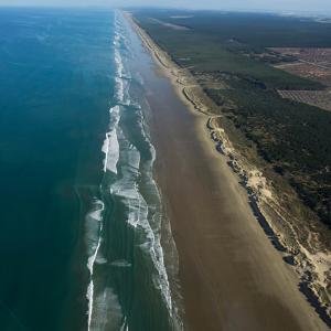 Aerial view of beach, Ninety Mile Beach, Northland, North Island, New Zealand