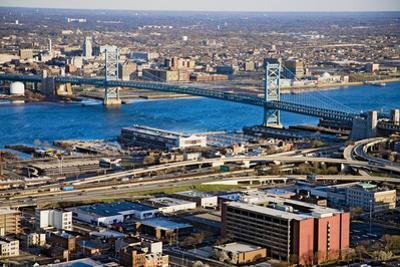 Aerial view of Ben Franklin bridge crossing the Delaware River from Philadelphia, Pennsylvania s...