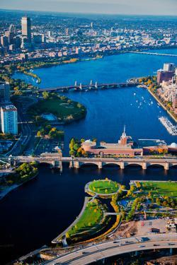 Aerial View of bridges crossing Charles River, looking east toward Cambridge from Boston, MA
