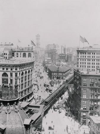 Aerial View of Business District on Broadway