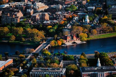 AERIAL VIEW of Cambridge and Anderson Memorial Bridge leading to Weld Boathouse, Harvard on Char...