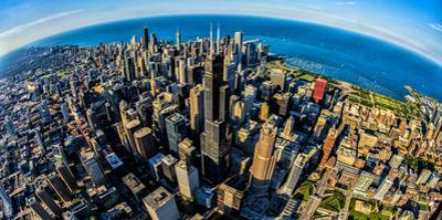 Aerial view of Chicago skyline at waterfront, Chicago, Cook County, Illinois, USA