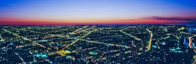 Aerial view of cityscape illuminated at dawn, Chicago, Cook County, Illinois, USA