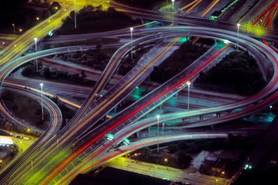 Aerial view of Dan Ryan Expressway and Eisenhower Expressway intersection in Chicago, Cook Count...