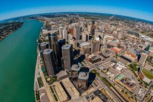 Aerial view of Detroit skyline, Wayne County, Michigan, USA