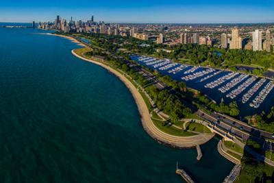 Aerial view of Diversey Harbor and skyline, Chicago, Cook County, Illinois, USA