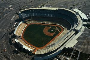 Aerial View of Dodger Stadium with Parking Lots