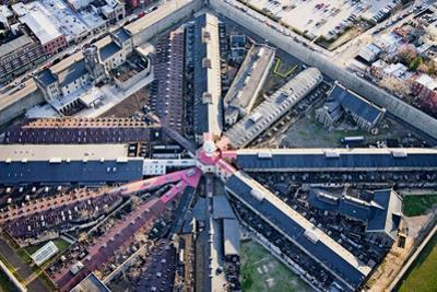 Aerial view of factory triangular pattern in Philadelphia, Pennsylvania