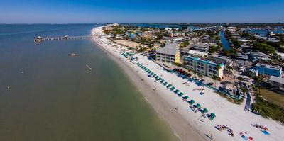 Aerial view of Fort Myers Beach, Estero Island, Lee County, Florida, USA